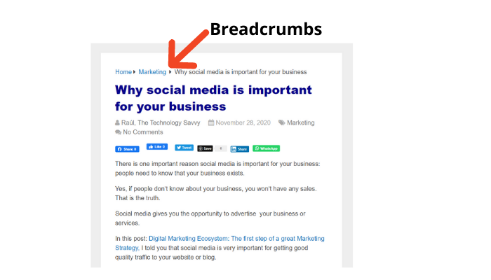 the technology savvy example of breadcrumbs