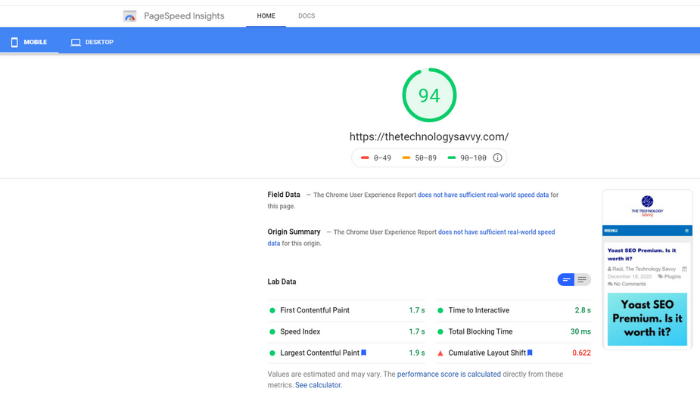 the technology savvy google speed insights results