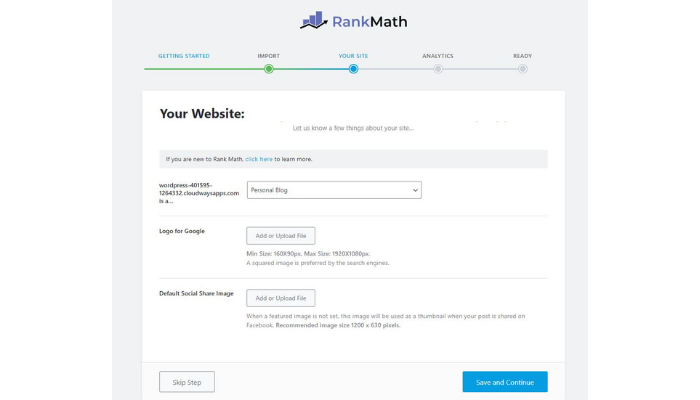 the technology savvy rank math choose blog type logo for google default social share image